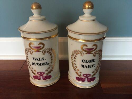 Two Antique French Gilt Porcelain Apothecary Jars 19th C. Paris H Vignier Gosse