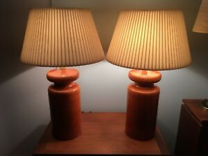 "Pair of Mid century modern ceramic table lamps - 27"" tall"