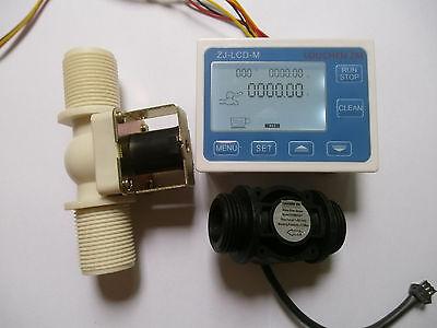 New G1 Water Flow Control Lcd Meter Flow Sensor Solenoid Valve