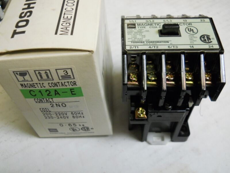 TOSHIBA C12A-E 2NO MAGNETIC CONTACTOR 15A 240V NEW CONDITION IN BOX