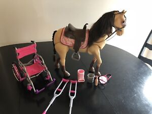 Wheel Chair, Crutches, and Horse all for 18 inch Dolls