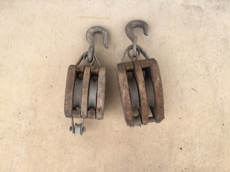 Vintage Iron And Wood Block And Tackle