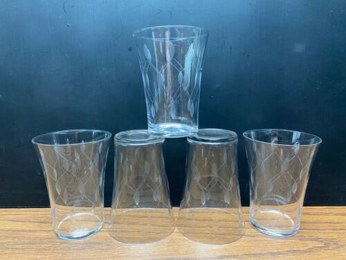 "Set of 5 Vintage Etched Geometric Beveled Clear Glass Juice Tumblers 4"" Tall"