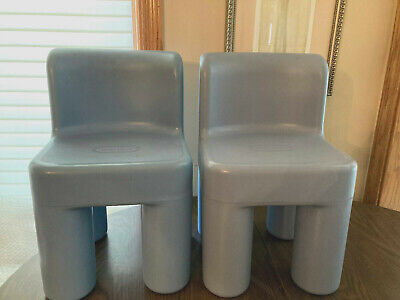 Little Tikes Sturdy Chunky Plastic Blue Vtg Chairs Toddler Child Size
