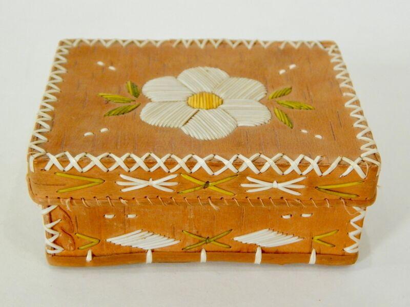 Birch Bark & Porcupine Quill Box Small Rectangular Vintage