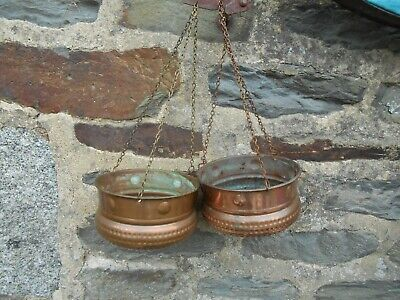 Vintage French pair of copper hanging baskets in untouched condition