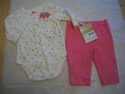 CARTER'S BABY GIRLS 2 PIECE PANT SET HEART PRINT NWT PINK GREY WHITE ELEPHANT (2 Piece Printed Hearts)