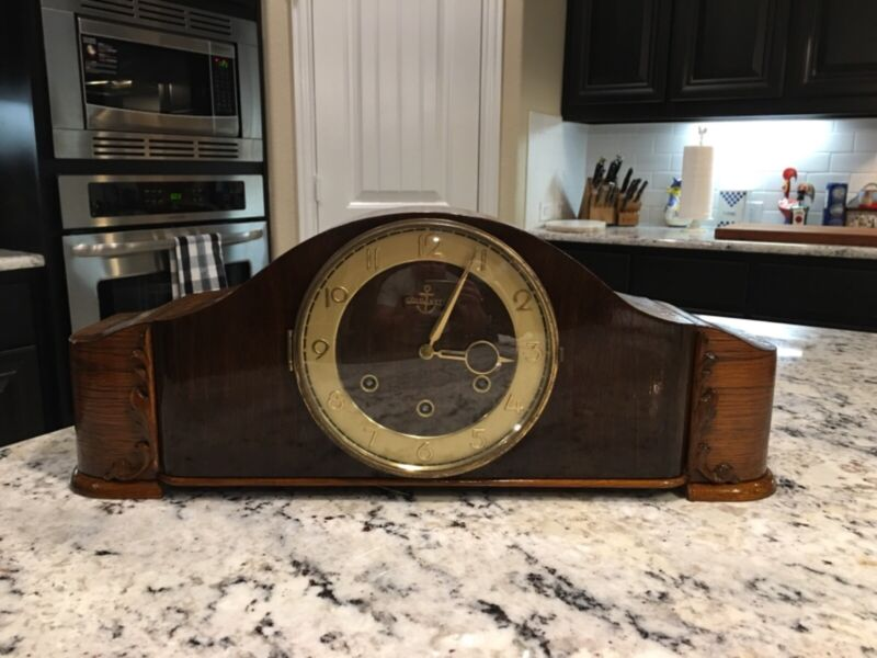 West Germany - Westminster Chime Art Deco Mantle Clock - Works!