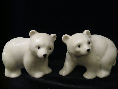 Beautiful Pair Of Vintage Otagiri Japan Porcelain Polar Bear Figurines HTF