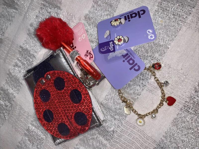 Claire's Ladybug Diary Mirror Lock & Key Jewelry Charm Bracelet Clip Earring Lot