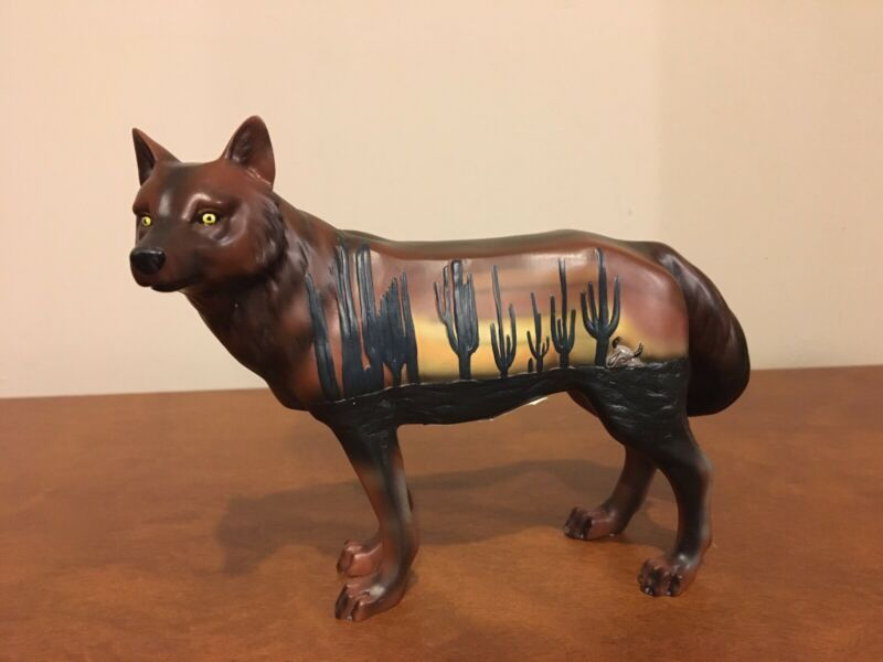 Call of the Wolf desert wolf #14109 Westland Giftware Figurine southwest cactus