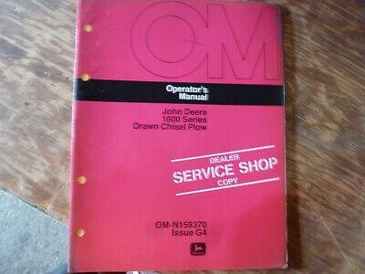 John Deere 1600 Series Drawn Chisel Plow Owner Operator Manual Omn159370