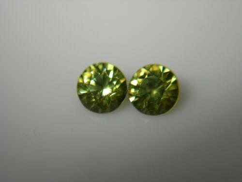 2 rare Namibia Demantoid Garnet gems Diamond Cut 0.58ctw Pair green andradite