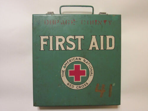 Vintage American National Red Cross First Aid Kit Green with Brown Boxes Inside