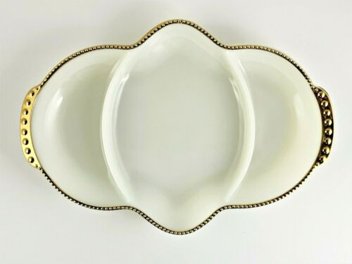 Vintage Fire King Divided Serving Dish White Gold Raised Bead Rim