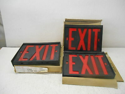 Dual Lite Ewrbb Exquisite Red Exit Signs Single Face Lot Of 3 New