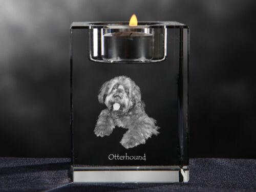 Otterhound, crystal candlestick with dog, souvenir, Crystal Animals CA