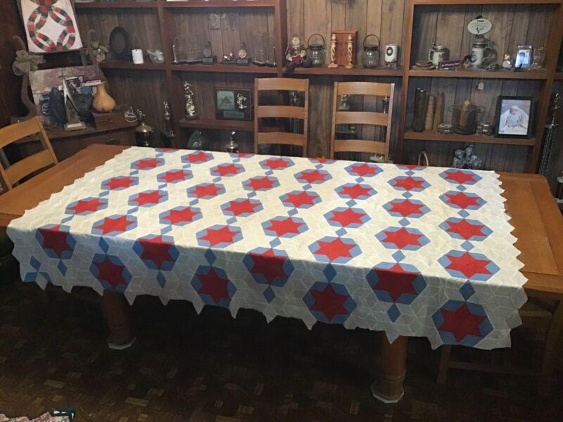 Antique Quilt Top...c1910....Patriotic Red, White And Blue