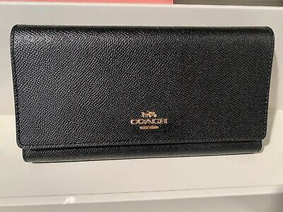 Coach Pebbled Leather Black Checkbook Wallet F16613 NWT
