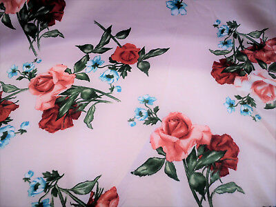 Discount Fabric Printed Spandex Stretch Pink Red Turquopise Rose Floral C205 - Pink Discount