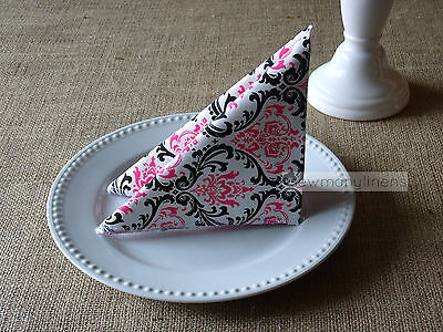 Fuchsia Pink Black and White Napkins Wedding Decor Table Centerpiece Linens Set - Black And White Table Decorations Centerpieces