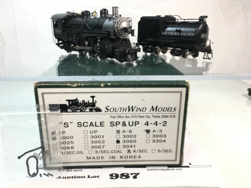 Lot987 Southwind Models S Scale Brass SP 4-4-2 A6 Locomotive, Tender 2 Rail 1/64