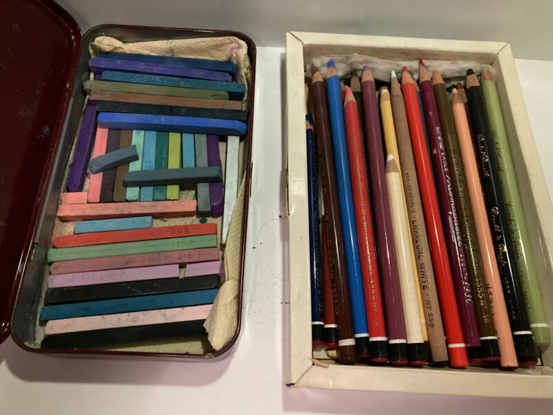 Lot Of Assorted Pastel Art Supplies 25 Pastels 30 Pastel Pencils Colors Nupastel