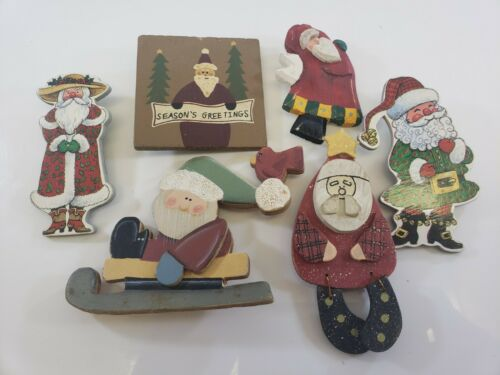 Vintage Christmas  Brooch Pin Lot Wood Santa Claus Signed Crazy Mountain CRAFTS