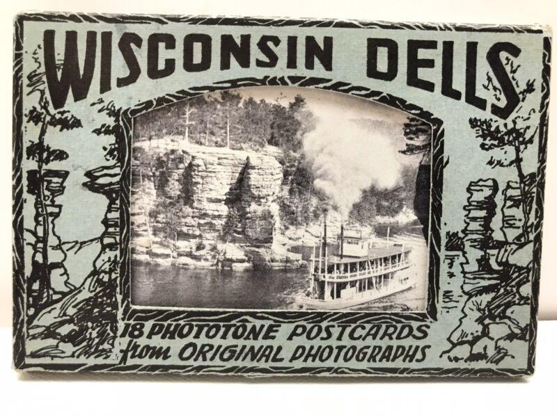 Vintage Wisconsin Dells Souvenir Phototone Postcards Pack Unused 18 Cards