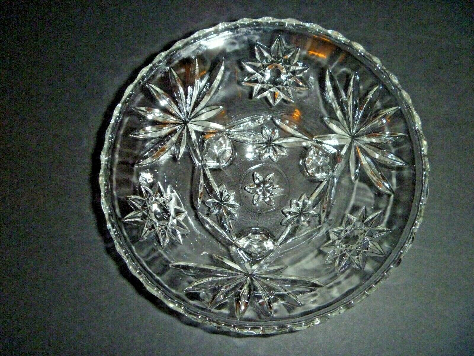 VINTAGE - ANCHOR HOCKING EAPC STAR OF DAVID - FOOTED CLEAR GLASS BOWL - MID CENT - $4.99