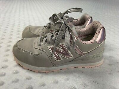 New Balance 574 Girl's Size 12 Gray / Pink Shoes Sneakers