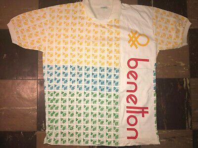 United Colors of Benetton Vtg 80s 90s Print all Over Rugby Jersey Polo t shirt M