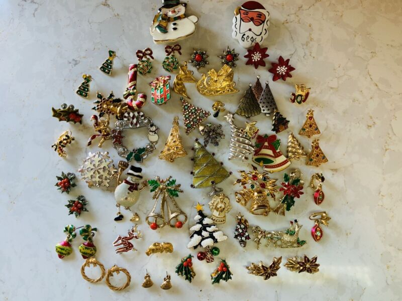 Vintage Lot Of Christmas Brooch/Pin & Earring Lot ~ 15 Signed
