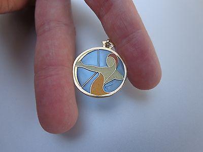 French Art Nouveau Deco Cartier 18K Gold Enamel Sagittarius Zodiac Charm Pendant