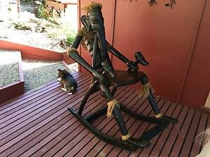 WITCHDOCTORS CARVED ROCKING CHAIR-VERY RARE-BLACK TEAK Warburton Yarra Ranges Preview