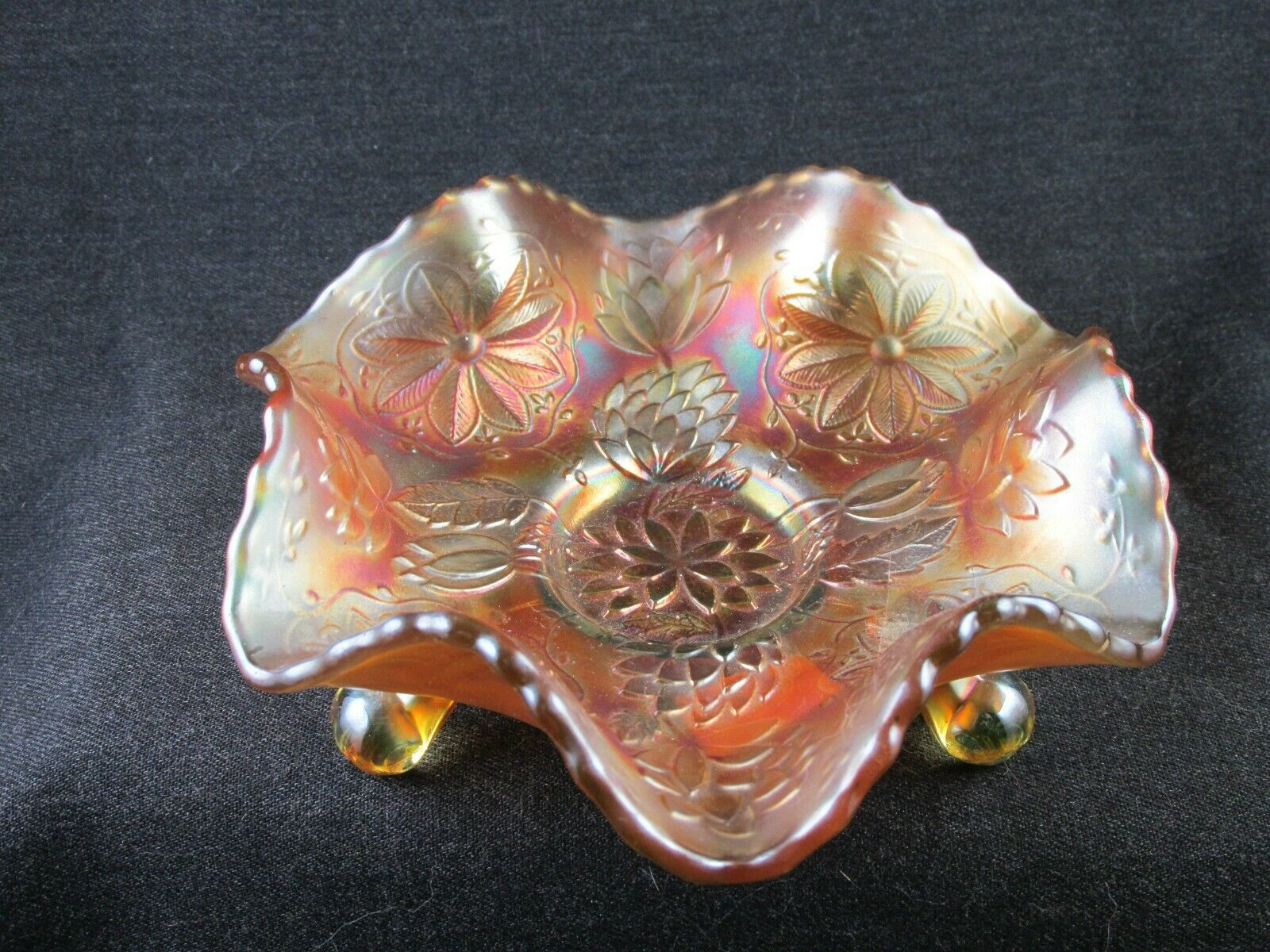 CARNIVAL GLASS FENTON VASELINE TWO FLOWERS 6 INCH FOOTED BOWL 1910S GLOWS CANARY - $31.00