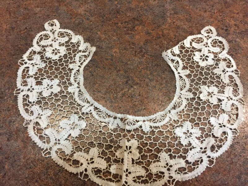 c1890 Handmade Needle Lace Ecru Collar Or Add In To Any Piece