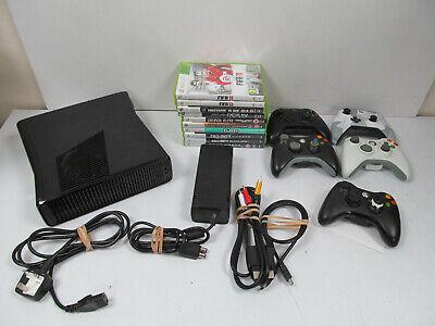 XBOX 360 S Console Model 1439 Black 10 Games