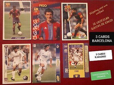 FIGO REAL MADRID BARCELONA 6 CARDS MUNDICROMO PANINI CORNERS PERFECT CONDITION