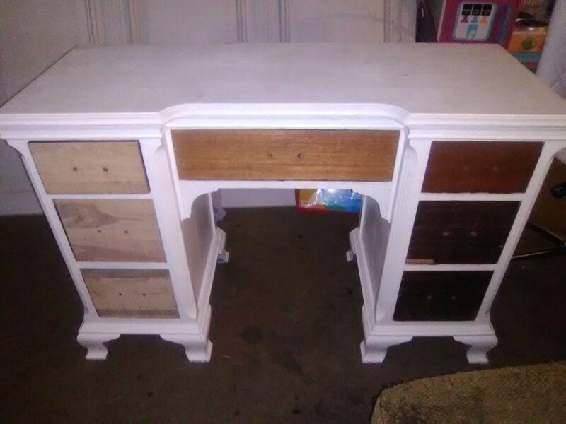 Unfinished Solid Wood White Desk