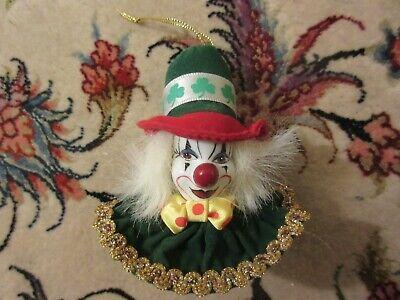 Porcelain Clown Shamrock Irish Christmas Holiday Tree Ornament