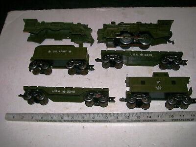 Vintage 5-Unit MARX Deluxe 8-Wheel U.S.A MILITARY ARMY Train Set 1950s O-27/O