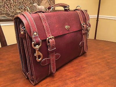 J. PETERMAN Leather French Expeditionary Corps Military Briefcase/ Messenger Bag