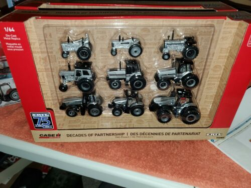 1:64 Case IH ERTL 75th Anniversary 9-PC SILVER CHASE AND RED SETS