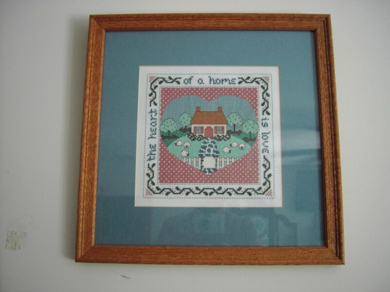 The Heart of the Home is Love - Framed Counted Cross Stitch - Handcrafted