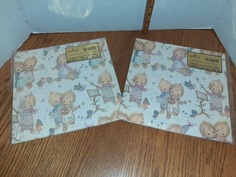 2 Vintage NEW in Pkg Hallmark Betsey Clark Wrapping Paper Musical All Occasion