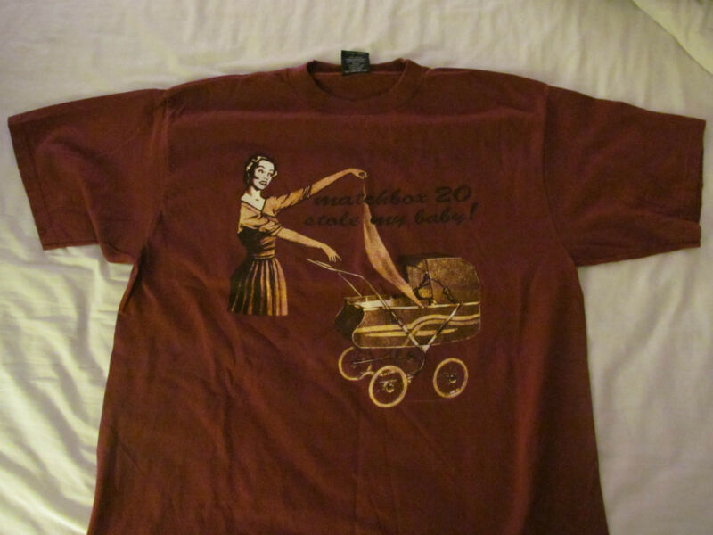 ORIGINAL 1997 MATCHBOX 20-STOLE MY BABY-MAROON SHIRT-NEVER WORN+STICKER