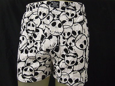 New Black & White Nightmare Before Christmas Jack Skull Face Boxers -