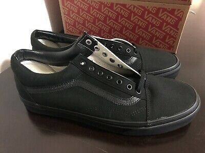 VANS OLD SKOOL BLACK CANVAS SIZES 9-12 CLASSIC SKATE SHOE ALL BLACK CANVAS