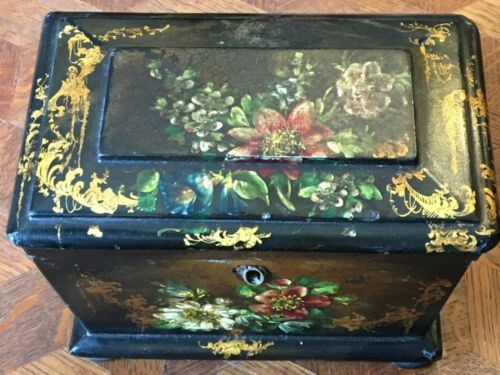 Beautiful English Double Tea Caddy Circa Late 1800s Floral Design Black Lacquer